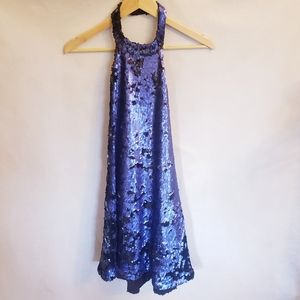 TOBI Purple Sequin Backless Halter Dress, Sz S